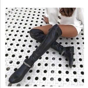Zara Over the Knee Black Vegan Leather chain boots